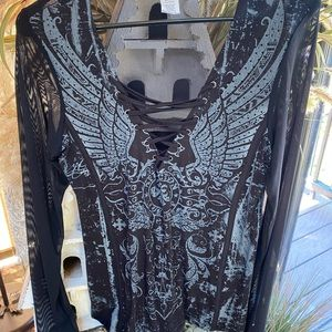 NWOT Affliction Sheer Lace up Tee so much detail M